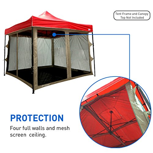 Screen Room attaches to any 10'x10' Easy Up Pop Up Screen Tent Room – 4 Walls, Mesh Ceiling, PVC Floor, Two Doors, Four Windows – Standing Tent – Tent Room - TENT FRAME AND CANOPY NOT INCLUDED (Shelter Screenhouse 10)