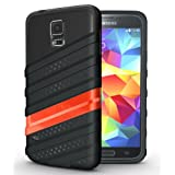 [WAV-HYBRID] TUDIA Samsung Galaxy S5 Case Protective Dual Material Bumper Case for Samsung Galaxy S5 / Galaxy SV / Galaxy S V (2014) (Black/Red)