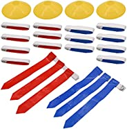 Flag Football Set, 14 Player Flag Football Belts and Flags Set, Includes 14 Belts, 42 Flags and 4 Cones, Easy