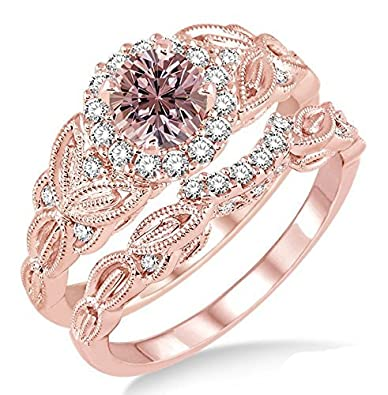 Amazon 1 25 Carat Morganite & Diamond Vintage floral Bridal