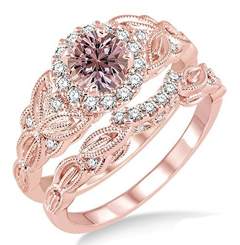 1.25 Carat Morganite & Diamond Vintage floral Bridal Set Engagement Ring on 10k Rose Gold