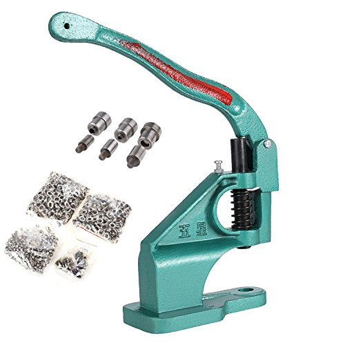 Hand Press Grommet Machine 3 Die (#0#2#4) with 900 Grommets Eyelet Tool Kit by Rampmu