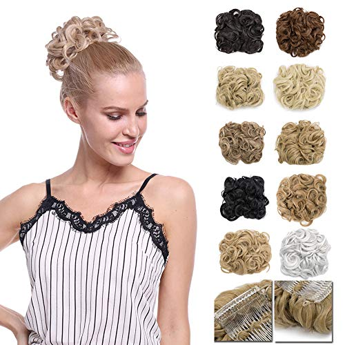 Messy Curly Hair Bun Extension Easy Stretch Hair Dish Chignon Scrunchy Updo Donut Wedding Hairpieces Combs Clip in Ponytail Trap Ponytail(Medium Brown)