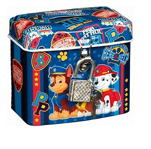Paw Patrol Chase, Rubble and Marshall Mini Money Coin Box with Padlock and Key BWR