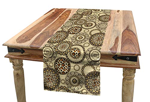 Ambesonne Animal Print Table Runner, African Safari Pattern with Cheetah Skin Print Animal Theme in Neutral Colors, Dining Room Kitchen Rectangular Runner, 16 W X 90 L Inches, Brown Beige ()
