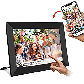 Image of Akimart 10 Inch WiFi Digital Photo Frame with Touch Screen, IPS LCD Panel, Auto-Rotate,Built in 16GB Memory, Send Photos or Videos from Anywhere, Frameo App (iOS and Android) Diamond Style Digital Picture Frames
