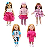 #2: American Girl Doll Clothes-5 Complete Outfits, Totally 18 Pcs for Any 18'' Doll Clothes and Accessories Set