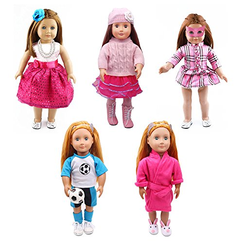 American Girl Doll Clothes-5 Complete Outfits, Totally 18 Pcs for Any 18'' Doll Clothes and Accessories Set