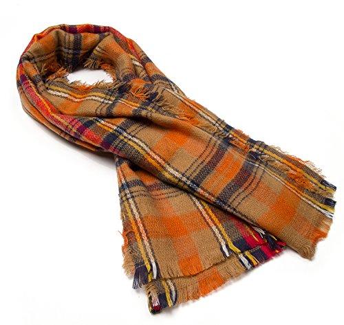 Large Tartan Fashion Women Scarf Lovely Best Gift Scarf Wrap Shawl Orange from DEARCASE