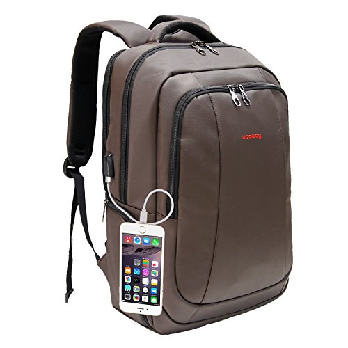 What To Buy Dad For Christmas - Uoobag KT-01 Business Backpack for 17 17.3 Inch Laptop with USB Charging Port Travel Computer Backpack Bags Coffee