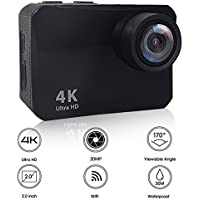 Action Camera, Heegomn 4K Ultra HD 60 Meters Waterproof Camera 16MP 2.0 LCD WiFi Sports Camera with Sony Sensor and Free Mounting Accessories, Black