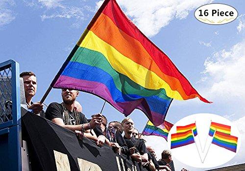 Magnoloran 60 x 35 inches Rainbow Flag 15 Piece 8.3 x 5.5 inches Rainbow Handheld Mini Stick Flag, Polyester Gay Pride Banner Flags Lesbian Peace LGBT Rainbow Flag Banner Festival Carnival Flag ()