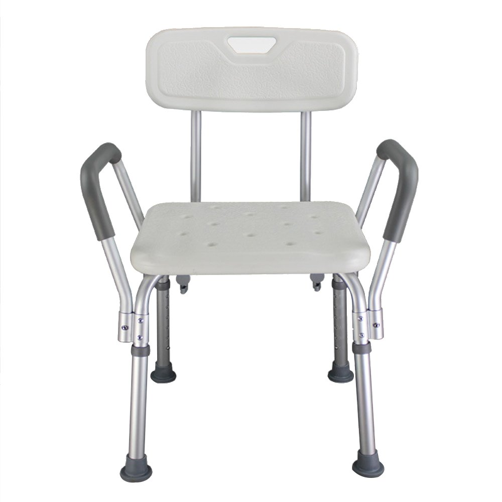 Vogvigo Armchair Shower Chair with Arms Foam Handrail Secure Bathtub Chair with Anti-Slip Rubber Tips White Shower Bench