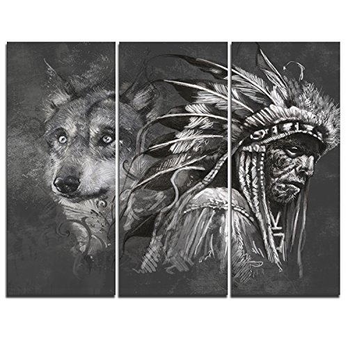 Wolf Indian Poster - Designart PT6363-3P Wolf and American Indian Chief - Canvas Art Print 36x28-3 Panels