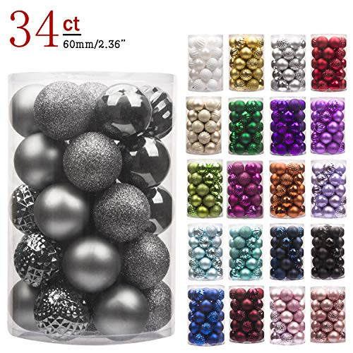 "KI Store 34ct Christmas Ball Ornaments Shatterproof Christmas Decorations Tree Balls for Holiday Wedding Party Decoration, Tree Ornaments Hooks Included 2.36"" (60mm Space Gray)"