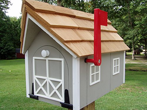 Amish Homemade Handmade Handcrafted Rural Mailbox USPS Lt Gray w/ White Trim