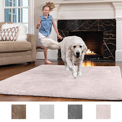 GORILLA GRIP Original Faux-Chinchilla Nursery Area Rug, (2 x 3) Super Soft & Cozy High Pile Machine Washable Carpet, Modern Rugs for Floor, Luxury Shag Carpets for Home, Bed/Living Room (Light Pink)