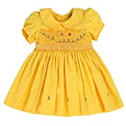 sissymini Soft Cotton Classic Hand Smocked & Embroidered Dress LIL Sunshine - 12M
