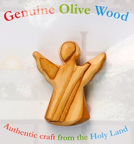 ANGEL OLIVE WOOD HOLDING CROSS - Made in Bethlehem the Holy Land by Zuluf Factory HLG025