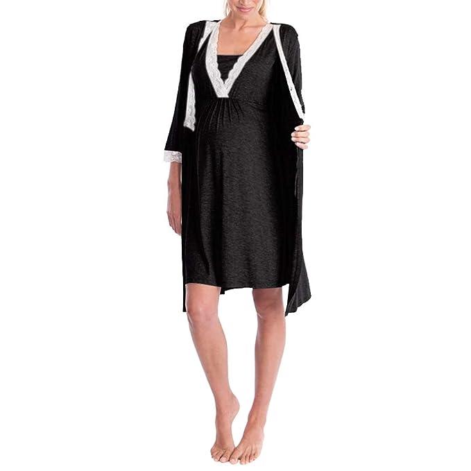 Zhhlinyuan Mujere Maternidad Vestido Moda Premamá Lactancia Vestido - Ladies Vestidos embarazados Cómodo Robe Talla Grande