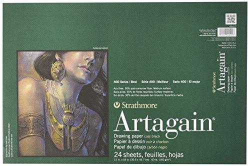 "Strathmore STR-445-112 24 Sheet Art Again Black Pad, 12 by 18"""
