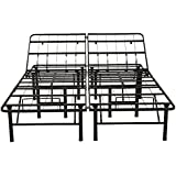 Classic Brands Hercules Heavy-Duty Adjustable Platform 14-Inch Metal Bed Frame | Mattress Foundation or Box Spring, Queen