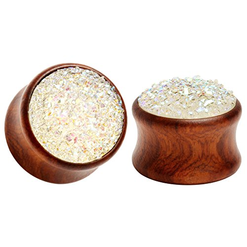 KUBOOZ(1 Pair White-Stone Surface Wooden Ear Plugs Tunnels Gauges Stretcher Piercings ()