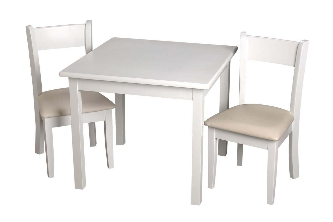 Gift Mark Childrens Square Table with 2 Matching Off White Upholstered Chairs and Seat Cushion Cherry 23004C