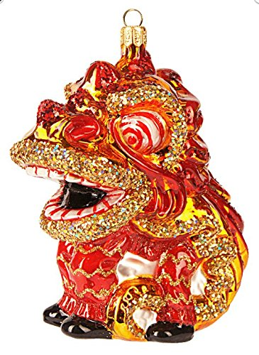 (Chinese China New Years Dragon Polish Glass Christmas Ornament Travel Souvenir)