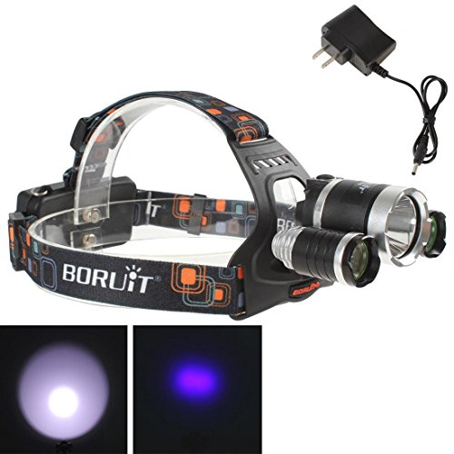 Boruit Super Bright 1400LM 1 x XM-L T6 LED & 2 x XP-G R5 LEDs 4 Modes Blue Light Headlamp with Charger Adapter