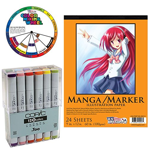 """Copic Markers 12-Piece Basic Set with US Art Supply 9""""x12"""" Marker Pad & Color Mixing Wheel"""