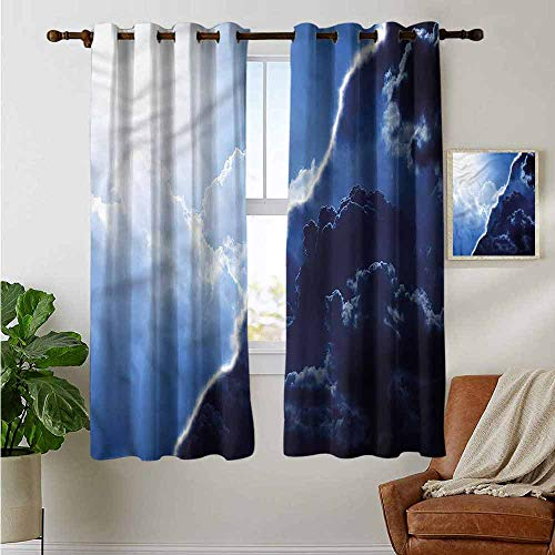 Contrasting Tie - petpany Window Curtains Nature,Contrasting Sky View,Tie Up Window Drapes Living Room 42