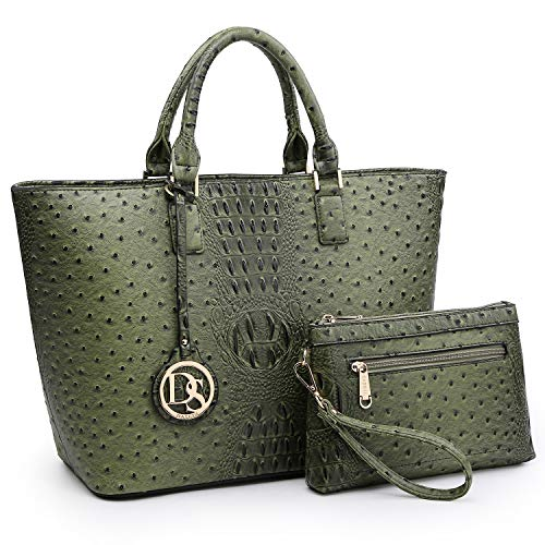 - Fashion Women Tote Handbags Vegan Leather Satchel Purse Shoulder Bag with Matching Wallet (Ostrich Leather-Army Green)