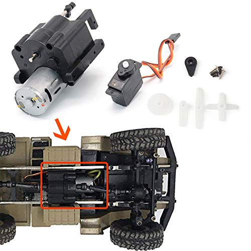 (Aikeec 1/16 RC Car Split Transfer Speed Gearbox with 370 Motor+Servo for WPL B14 B24 B16 C14)