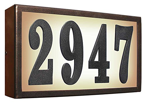 - Qualarc SRST-AB60-BRZ Serrano Low Voltage Rust Free Galvanized Steel Rectangular Lighted Address Plaque with 4-Inch Black Polymer Numbers, Bronze