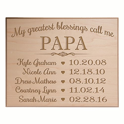 Papa Gifts Birthday gifts for him Personalized with children's names and kid's birth date special dates My Greatest blessings call me Papa by LifeSong Milestones (12x15, Maple Veneer)