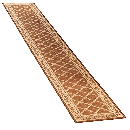 Collections Etc Lattice Design Extra Long Hallway Runner Rug with Skid-Resistant Backing, Mocha, 20'' X 90'' by Collections Etc