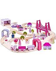 Bigjigs Rail Wooden Fairy Town Train Set Pink Accessories Track Play Kids Child