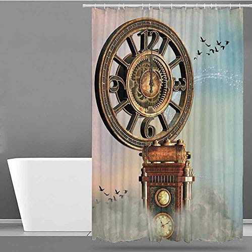 (VIVIDX Polyester Fabric Shower Curtain,Fantasy,Magical Enchanted Landscape Big Antique Clock Flying Birds Fairytale,Fabric Shower Curtain Bathroom,W94x72L Pale Blue Brown Pink)