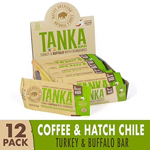Bison Pemmican Meat Bars with Turkey, Buffalo & Cranberries by Tanka, Gluten Free, Beef Jerky Alternative, Coffee Hatch Chile, 1 Oz, Pack of 12