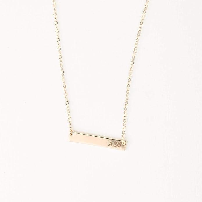 A-List Greek Alpha Epsilon Phi Sorority Bar Stamped Necklace