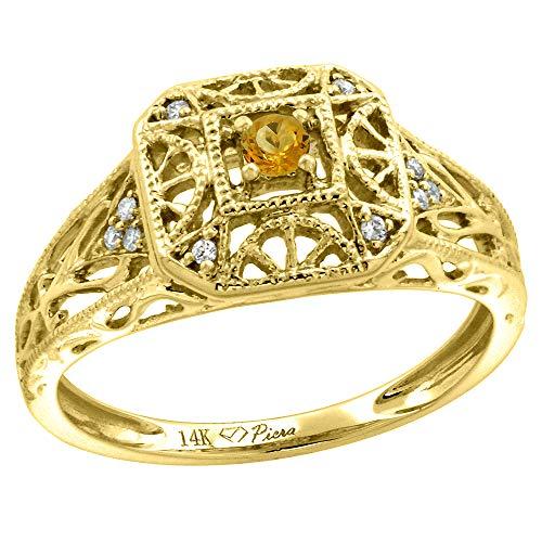 - 14k Yellow Gold Diamond Genuine Citrine Engagement Ring Filigree Round Brilliant cut 3mm, size 9