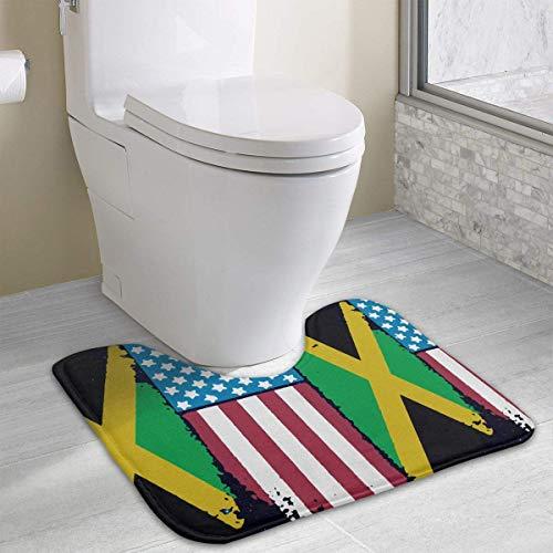 Bennett11 Jamaican American Flag Jamaica USA U-Shaped Toilet Floor Rug Non-Slip Toilet Carpets Bathroom Carpet 19.2″x15.7″