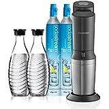Soda Stream Crystal Wassersprudler Titan mit 2 x CO2-Zylinder und 2 x Glaskaraffen