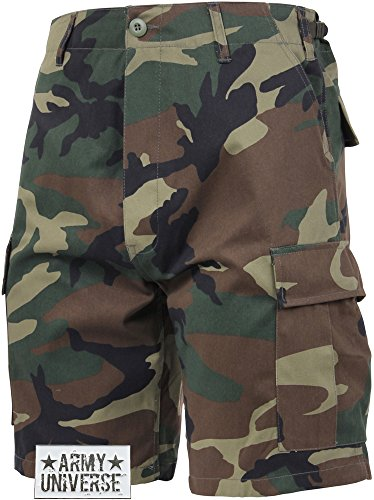 Woodland Camouflage BDU Cargo Shorts with ARMY UNIVERSE Pin Size