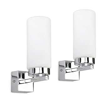 Pair Of Modern Chrome Bathroom Wall Lights With Frosted Glass