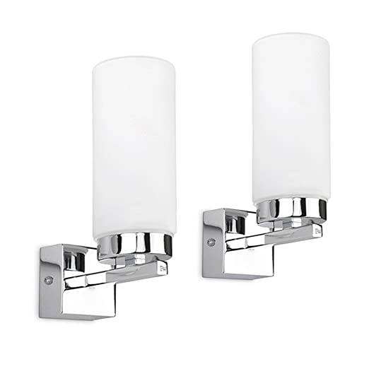 Pair of modern chrome bathroom wall lights with frosted glass pair of modern chrome bathroom wall lights with frosted glass cylinder shades ip44 rated aloadofball Images