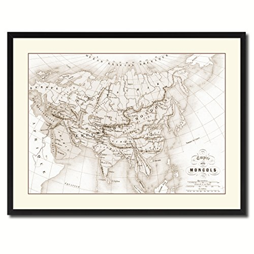 Mongolian Empire Asia Old Sepia Map 38035 Picture Frame Gift
