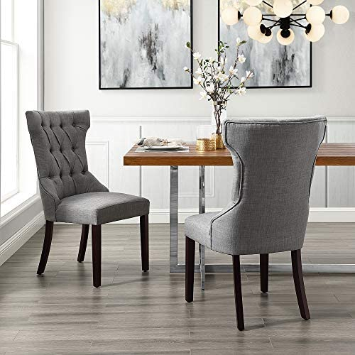 InspiredHome Light Grey Linen Dining Chair
