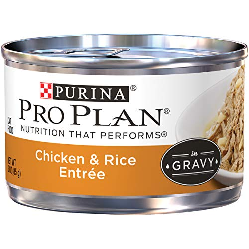 Purina Pro Plan Gravy Wet Cat Food; Chicken & Rice Entree - 3 oz. Pull-Top Can (Pack of 24)